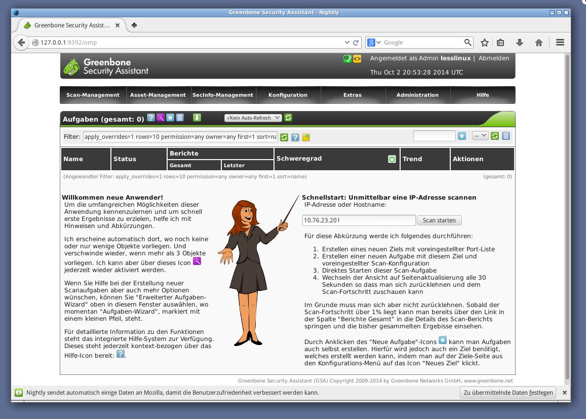 lesslinux org Development Blog » Blog Archive » OpenVAS included